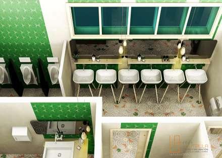 Aseos unisex : Edificios de oficinas de estilo  de ANA UTRILLA | DISEÑO DE INTERIORES