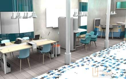 Open office: Edificios de oficinas de estilo  de ANA UTRILLA | DISEÑO DE INTERIORES