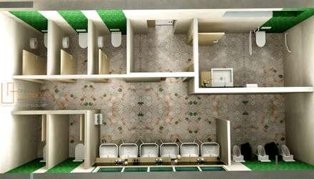 Planta de aseos de espacio coworking: Edificios de oficinas de estilo  de ANA UTRILLA | DISEÑO DE INTERIORES