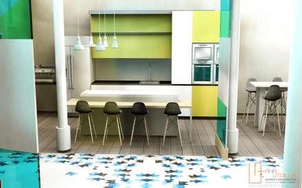 Cocina para espacio coworking: Edificios de oficinas de estilo  de ANA UTRILLA | DISEÑO DE INTERIORES