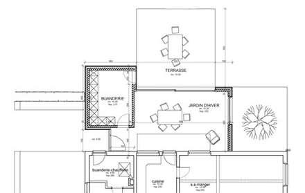 Plan de l'extension: Jardin d'hiver de style  par Wilmotte Architecte
