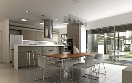 Vivienda en Rincon de Emilio, Neuquen Capital, Argentina: Cocinas de estilo moderno por Chazarreta-Tohus-Almendra