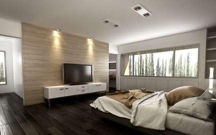 Vivienda en Rincon de Emilio, Neuquen Capital, Argentina: Dormitorios de estilo moderno por Chazarreta-Tohus-Almendra