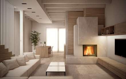 Renders&Progetti: Soggiorno in stile in stile Moderno di Giuseppe DE DONNO - architetto