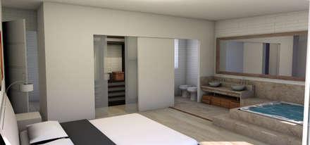 INTERIOR-DORMITORIO DE HUESPED: Dormitorios de estilo moderno por ARQUETERRA