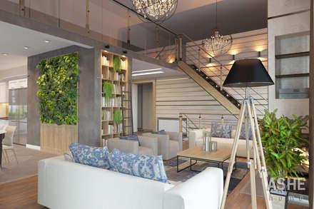 Лофт в Акбердино: Гостиная в . Автор – Студия авторского дизайна ASHE Home