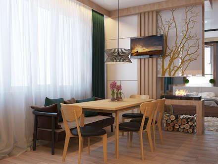современное шале в однокомнатной квартире: Столовые комнаты в . Автор – Девятайкина Софья ( АРТ-мастерская 'Stylishdesign')