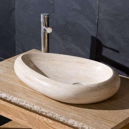 Stonearth - Pebble Basin Beige Travertine: rustic Bathroom by Stonearth Interiors Ltd
