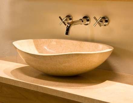 Miren Basin Galala Marble: rustic Bathroom by Stonearth Interiors Ltd