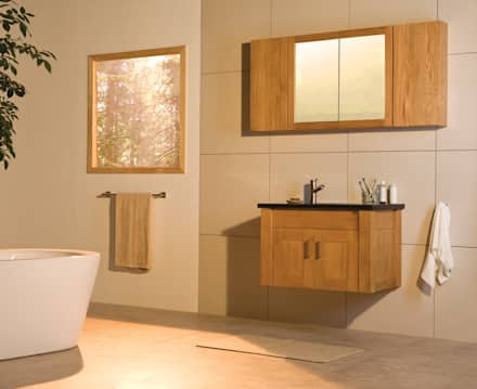 Entice Wall Hung Oak Washstand: scandinavian Bathroom by Stonearth Interiors Ltd
