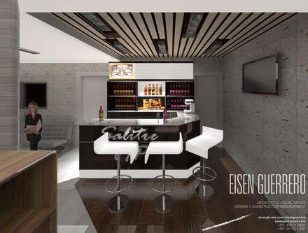 Vista Barra VIP. Minimarket  La Barrica. 2015: Bodegas de vino de estilo minimalista por Eisen Arquitecto
