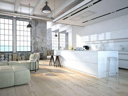 Loft: minimalistische Wohnzimmer von Fang Interior Design