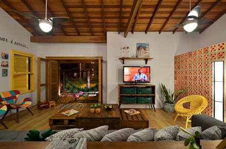 tropical Living room by Arquitetando ideias