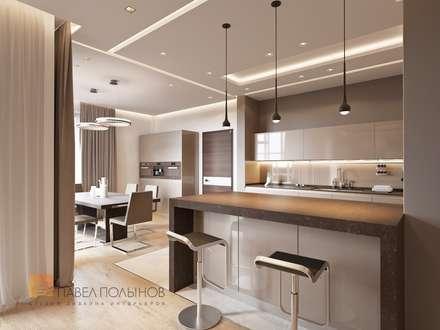 Квартира в современном стиле, 153 кв.м.: Кухни в . Автор – Студия Павла Полынова