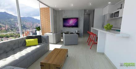 Imagen en 3d entrada principal: Salas de estilo moderno por TRESD ARQUITECTURA Y CONSTRUCCIÓN DE ESPACIOS