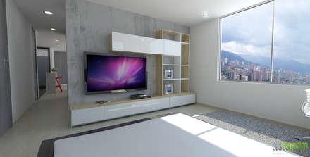 Imagen 3d alcoba principal: Habitaciones de estilo moderno por TRESD ARQUITECTURA Y CONSTRUCCIÓN DE ESPACIOS