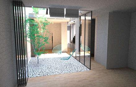 Anteproyecto para reforma de interior de vivienda en el ensanche. Barcelona: Jardines de invierno de estilo minimalista de BONBA studio