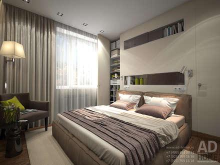 Дизайн интерьера двухкомнатной квартиры, 53 кв. м: Спальни в . Автор – Ad-home
