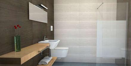 La calidez de la madera en el baño: Baños de estilo moderno de NUÑO ARQUITECTOS