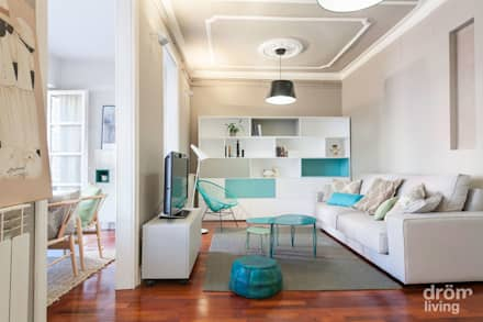Piso modernista en Barcelona: Salones de estilo minimalista de Dröm Living