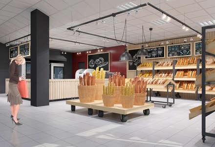 Пекарня в супермаркете Континент: Торговые центры в . Автор – INCUBE Алексея Щербачёва