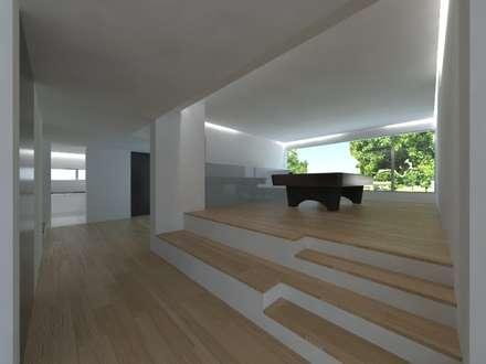 Quinta  das Azinheiras -  Turismo Rural: Salas multimédia minimalistas por Carlos Fazenda, arquitectos