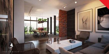 Town Houses Zibatá: Salas de estilo minimalista por Tectónico