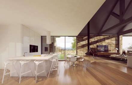 3d interior - cozinha, sala de jantar e estar: Cozinhas rústicas por Davide Domingues Arquitecto