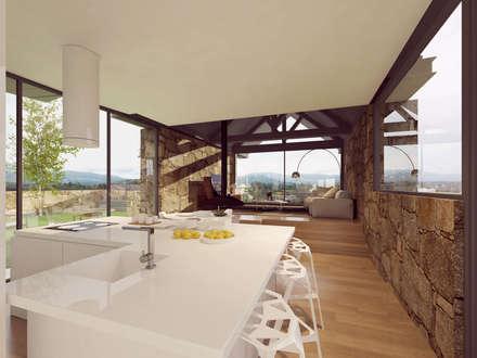 imagens 3d - cozinha e sala de estar: Cozinhas rústicas por Davide Domingues Arquitecto