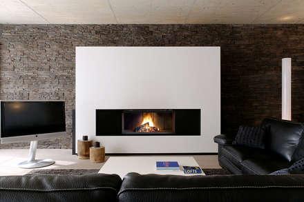 Recuperador Lenha Ultime (Porta de Guilhotina): Salas de estar modernas por Biojaq - Comércio e Distribuição de Recuperadores de Calor Lda