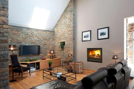 IN Fire 800 Green Metal: Salas de estar modernas por Biojaq - Comércio e Distribuição de Recuperadores de Calor Lda
