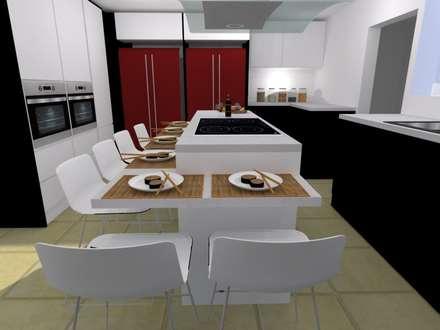 COCINA COMBINADA: Cocinas de estilo moderno por COCINAS ARCE C.A.