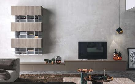 Ambiente Living (B) – panoramica: Soggiorno in stile in stile Scandinavo di Nova Cucina