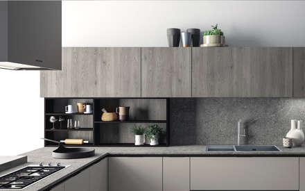 Ambiente Cucina (A) – dettaglio libreria: Cucina in stile in stile Scandinavo di Nova Cucina