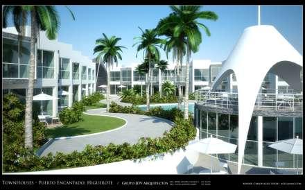 Imagenes 3D (Render) Vista  externa de las areas recreacionales y exteriores: Jardines de estilo minimalista por Grupo JOV Arquitectos