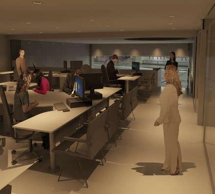Area de oficinas.: Pasillos y vestíbulos de estilo  por OMAR SEIJAS, ARQUITECTO
