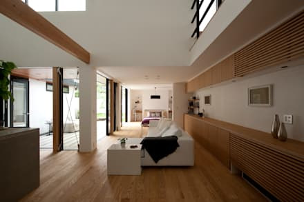 House with the bath of bird: Sakurayama-Architect-Designが手掛けたリビングです。