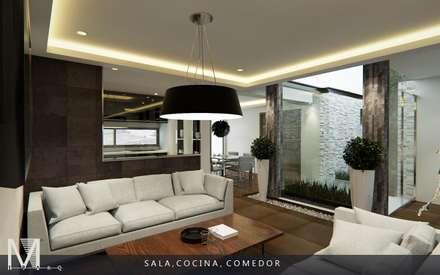 PROYECCIÓN 3D DE ESPACIO SALA COCINA Y COMEDOR: Salas de estilo moderno por MIRARQ CONSTRUCCIÓN