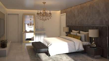 Vista 2 Habitación Principal: Cuartos de estilo moderno por Gabriela Afonso