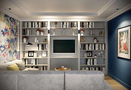 Трехкомнатная квартира для молодой семьи в современном стиле с элементами поп-арта: Гостиная в . Автор – Studio 25