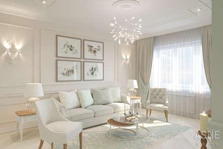Вид на гостиную: Гостиная в . Автор – Студия авторского дизайна ASHE Home