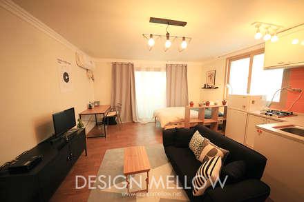 10평 원룸에 아늑하게 꾸민 자취방 인테리어: 디자인 멜로 (design mellow)의  침실