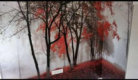 Customised Wallpaper: tropical Bedroom by C J Sheth & Co
