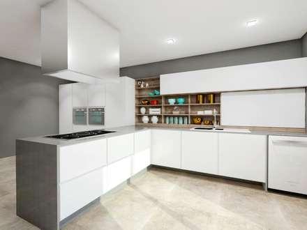 Cozinha High Tech: Cozinhas modernas por Teia Archdecor