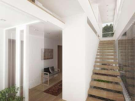 Casa - Taller : Pasillos y vestíbulos de estilo  por RRA Arquitectura