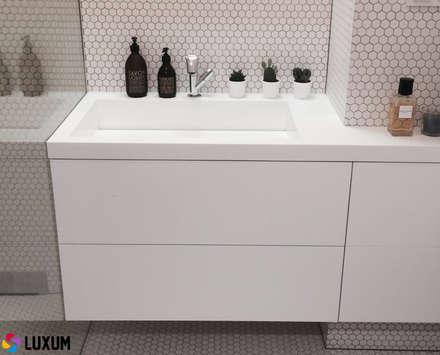 Minimalistyczna umywalka od Luxum: styl , w kategorii Łazienka zaprojektowany przez LUXUM