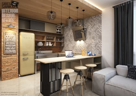 Cocinas de estilo industrial por SIBEL SARIKAYA INTERIOR DESIGN OFFICE