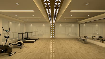 RNS TAJ SPA, BANGALORE. (www.depanache.in): modern Gym by De Panache  - Interior Architects
