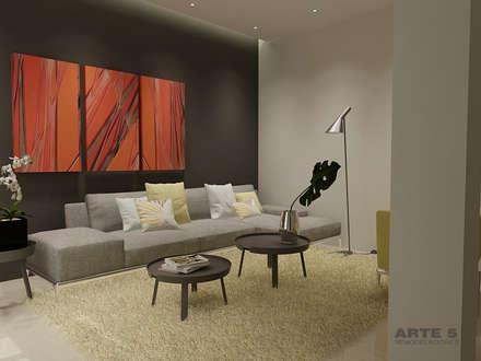 Diseño de interior residencia unifamiliar: Salones de estilo minimalista de Arte 5 Remodelaciones