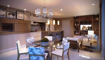 Residencial Coral: Salas de jantar tropicais por Fabiana Gianatassio e Lucas Pinho Arquitetura